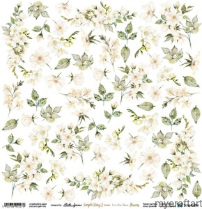 Simple Story 3 beige flowers  cut out sheet